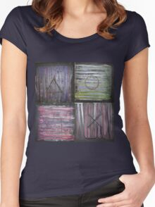 Abstract Console Buttons Women's Fitted Scoop T-Shirt