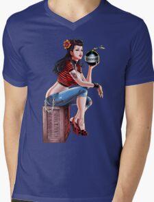SheVibe Bomb Girl Cover Art Mens V-Neck T-Shirt