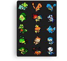 Pixel Pokemon Starters Canvas Print