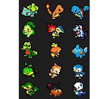 Pixel Pokemon Starters Photographic Print