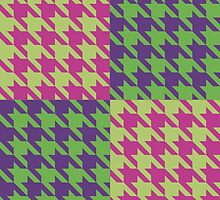 Checkered Houndstooth Purple Pink and Green by Kelsey Peet