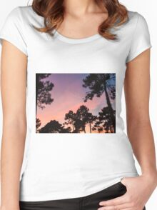 Sunset - Clouds, wind and trees #3 Women's Fitted Scoop T-Shirt