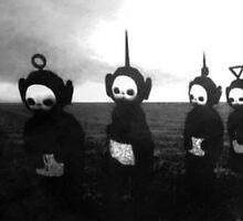 Teletubbies go to hell (black and white noir) by ekimprox