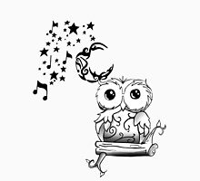 Intricate Owl at Musical Midnight Womens Fitted T-Shirt