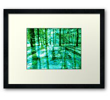 Colorful Forest Trees Green Turquoise Framed Print