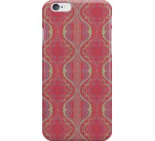 metallic blue and green squiggles on red iPhone Case/Skin