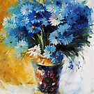 Blue Flowers — Buy Now Link - www.etsy.com/listing/228184865 by Leonid  Afremov