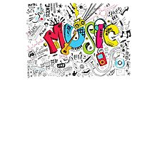 Music Instruments Collage Photographic Print
