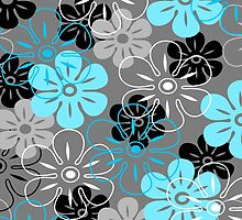 Flower Rain Hawaiian Retro Floral - Gray, Turquoise and Black by DriveIndustries