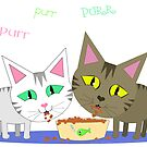 Happy Cats Eating by Jamiecreates1