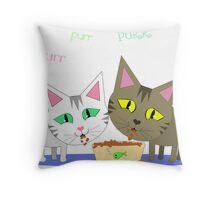Happy Cats Eating Throw Pillow