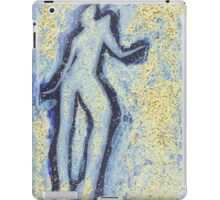 """""""Girl dancing in swirling blues and yellows"""" an analog darkoom photographic print / painting iPad Case/Skin"""