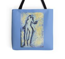 """Girl dancing in swirling blues and yellows"" an analog darkoom photographic print / painting Tote Bag"