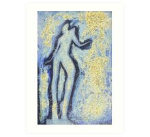 """""""Girl dancing in swirling blues and yellows"""" an analog darkoom photographic print / painting Art Print"""