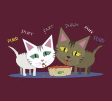 Happy Cats Eating T-Shirt by Jamie Wogan Edwards