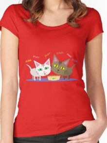 Happy Cats Eating T-Shirt Women's Fitted Scoop T-Shirt