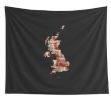 United Kingdom - British Bacon Map - Woven Strips Wall Tapestry