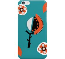 Orange & Turquoise abstract flowers iPhone Case/Skin