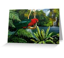 Rainforest Swing  (Male King Parrot) Greeting Card