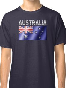 Australia - Australian Flag & Text - Metallic Classic T-Shirt