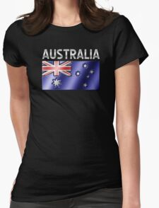 Australia - Australian Flag & Text - Metallic Womens Fitted T-Shirt