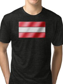 Austrian Flag - Austria - Metallic Tri-blend T-Shirt