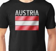 Austria - Austrian Flag & Text - Metallic Unisex T-Shirt