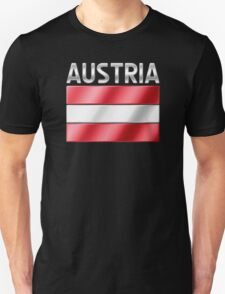 Austria - Austrian Flag & Text - Metallic T-Shirt