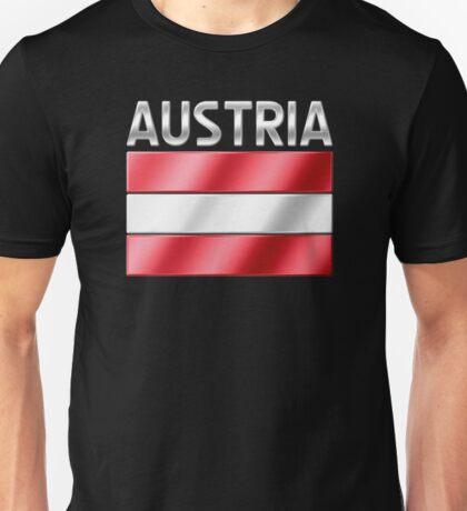 Austria - Austrian Flag & Text - Metallic Unisex T-Shirt