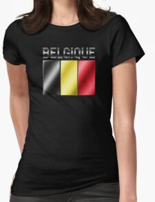 Belgique - Belgian Flag & Text - Metallic Womens Fitted T-Shirt
