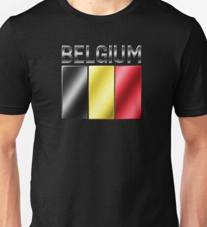 Belgium - Belgian Flag & Text - Metallic Unisex T-Shirt