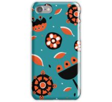 Retro turquoise and orange floral design iPhone Case/Skin