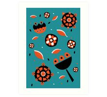 Retro turquoise and orange floral design Art Print