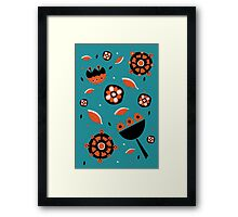 Retro turquoise and orange floral design Framed Print