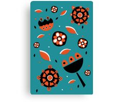 Retro turquoise and orange floral design Canvas Print