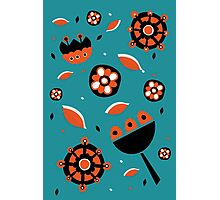 Retro turquoise and orange floral design Photographic Print