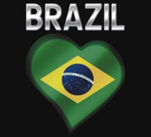 Brazil - Brazilian Flag Heart & Text - Metallic by graphix