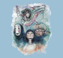 Spirited Away Miyazaki Tribute Watercolor Painting Baby Tee