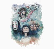Spirited Away Miyazaki Tribute Watercolor Painting Kids Clothes