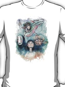 Spirited Away Miyazaki Tribute Watercolor Painting T-Shirt