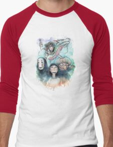 Spirited Away Miyazaki Tribute Watercolor Painting Men's Baseball ¾ T-Shirt