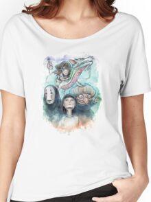 Spirited Away Miyazaki Tribute Watercolor Painting Women's Relaxed Fit T-Shirt