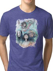 Spirited Away Miyazaki Tribute Watercolor Painting Tri-blend T-Shirt