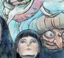 Spirited Away Miyazaki Tribute Watercolor Painting Sticker