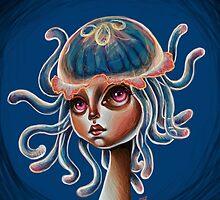 Jellyfish Head - pop surrealism illustration by Kristin Frenzel