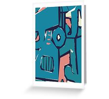Pink and blue freestyle abstract Greeting Card
