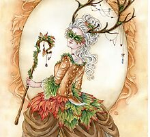 Forest Finery - Rococo Deer girl  by meredithdillman