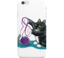 Mouse and Kitten Play with Purple Yarn iPhone Case/Skin