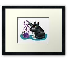 Mouse and Kitten Play with Purple Yarn Framed Print