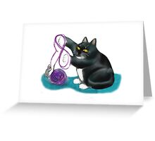 Mouse and Kitten Play with Purple Yarn Greeting Card